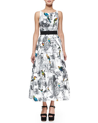 Serena Tropical-Print Crisscross-Back Midi Dress