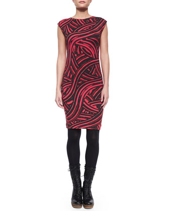 Sleeveless Abstract Paint-Print Sheath Dress