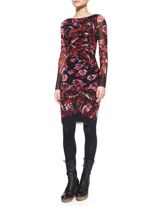 Long-Sleeve Floral & Feather Print Ruched Dress