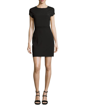 Rani Satin-Back Crepe Sheath Dress, Black
