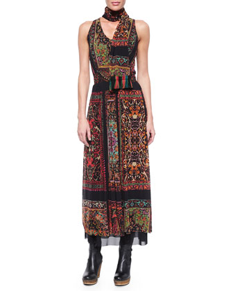 Sleeveless Rug-Print Maxi Dress W/Scarf