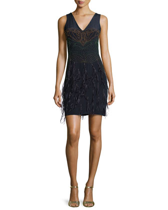 Seed Beads & Feathers Dress, Navy