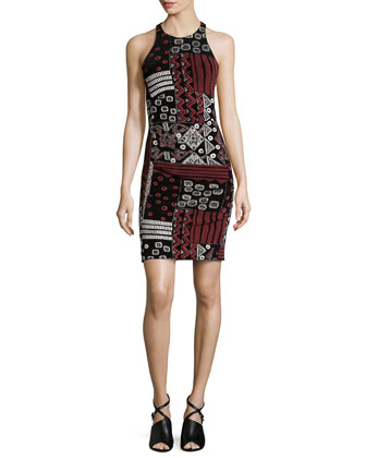 Glitter Crisscross Back Dress, Black Multi