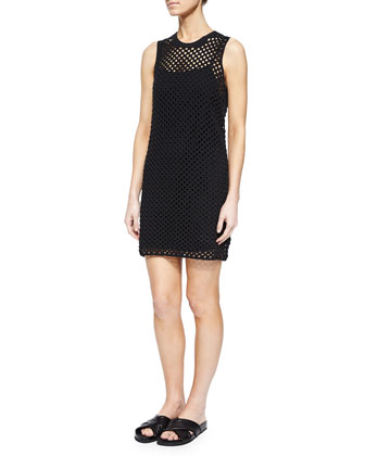 Natialee Crocheted Sleeveless Dress, Black