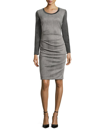 Candace Long-Sleeve Two-Tone Dress, Gray