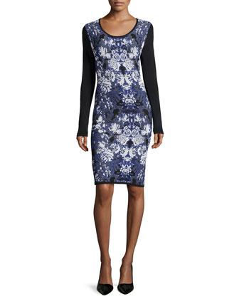 Ghost-Flower Long-Sleeve Knit Dress, Blue Multi
