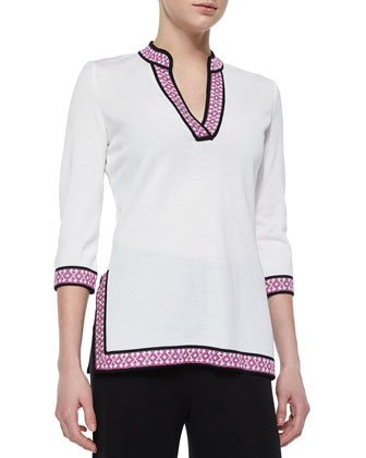 3/4-Sleeve Tunic W/ Novelty Trim