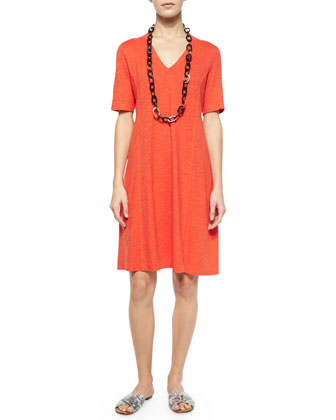 Half-Sleeve Hemp Twist Dress, Petite