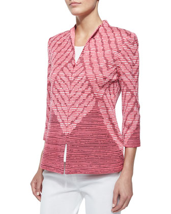3/4-Sleeve Diagonal Lines Jacket, Scoop-Neck Knit Tank & Boot-Cut Knit ...