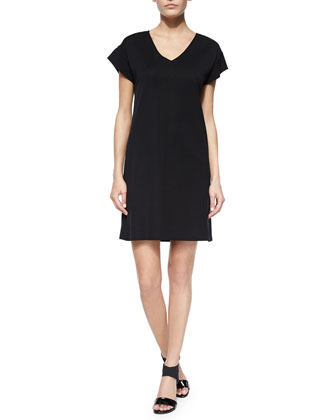 Short-Sleeve V-Neck Dress, Women's