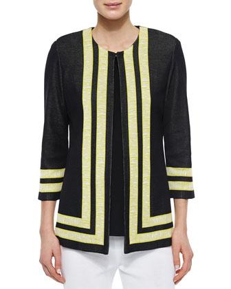 Bold Border 3/4-Sleeve Jacket, Women's