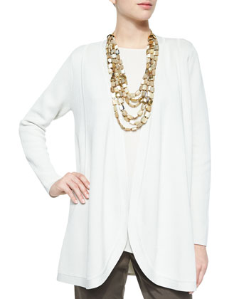 Silk Organic Cotton Interlock Cardigan, Sleeveless Silk Long Shell & ...