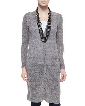 Rustic Linen Long Cardigan, Tank & Organic Skinny Jeans, Women's