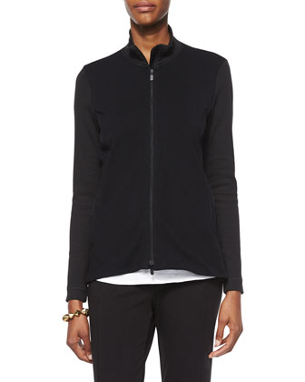 Stand-Collar Jersey Jacket, Slubby Short-Sleeve Scoop-Neck Tee & Stretch ...