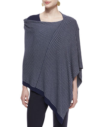 Cozy Striped Poncho, Slubby Short-Sleeve Scoop-Neck Tee & Stretch Jersey ...