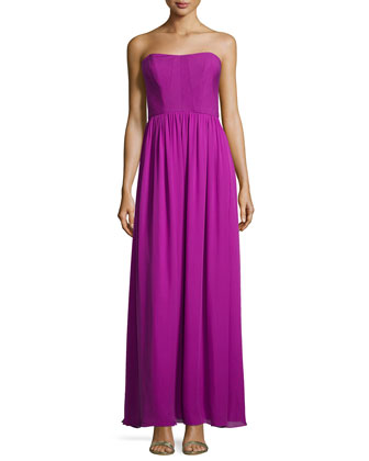 Jasmine Smocked Strapless Maxi Dress, Mulberry