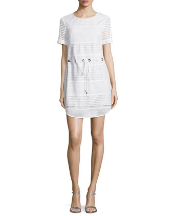Short-Sleeve Perforated Drawstring Dress