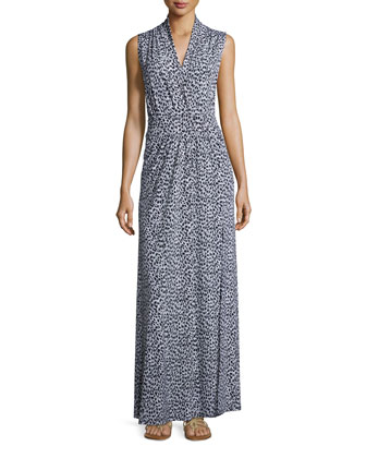 Sleeveless Jaguar-Print Maxi Dress