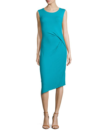 Sleeveless Side-Draped Jersey Dress