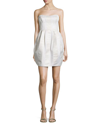 Strapless Bubble-Skirt Mini Dress, Ivory Multi