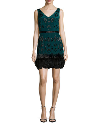 Embellished Ikat Dress, Pine