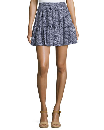 Botanical-Print Ruffled Skirt
