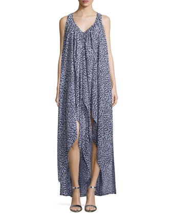 Abstract Jaguar Ruffled Kaftan Dress