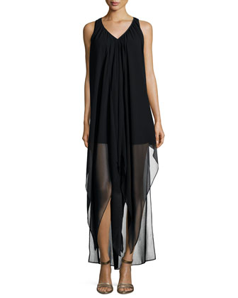 Sleeveless Flutter High-Low Caftan Dress