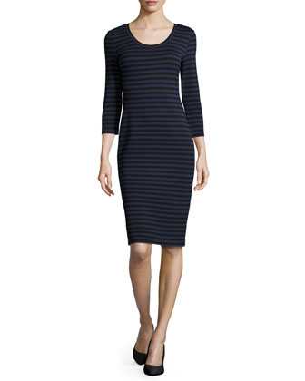Three-Quarter-Sleeve Stripe Ponte Dress, Black/Blue