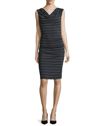 Jorden Striped Sleeveless Dress, Blue/Gray