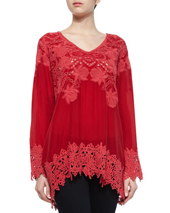 Lacy V-Neck Georgette Tunic, Women's