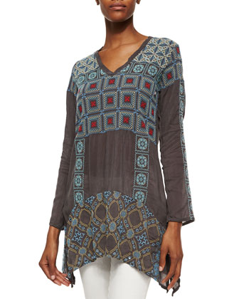 Losta Long-Sleeve Geometric Embroidery Tunic, Women's