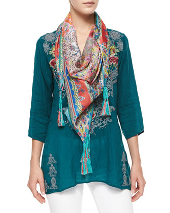 Tisha Embroidered Knit Vest, Liya 3/4-Sleeve Georgette Tunic & Helen ...