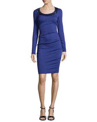 Candace Ponte Dress, Sapphire