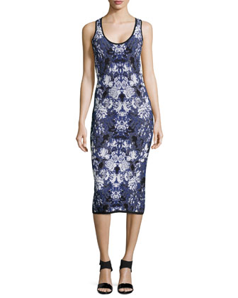 Ghost Flower Sleeveless Dress, Blue Multi