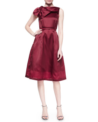 Sleeveless Bow-Detail Silk Belted Dress