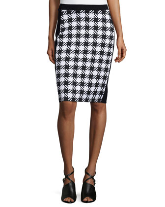 Elgin Houndstooth Pencil Skirt