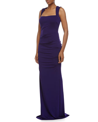 Felicity Side-Ruched Gown, Majestic Purple