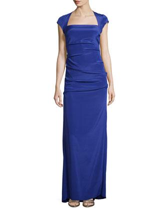 Felicity Cap-Sleeve Gown, Spectrum
