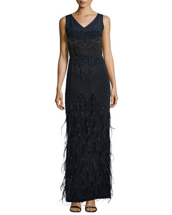 Seed Beads & Feathers Gown, Navy