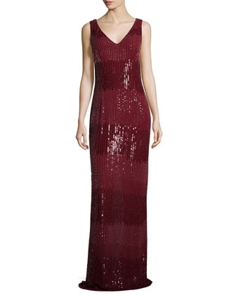 Tonal Ombre Sequin Gown, Wine