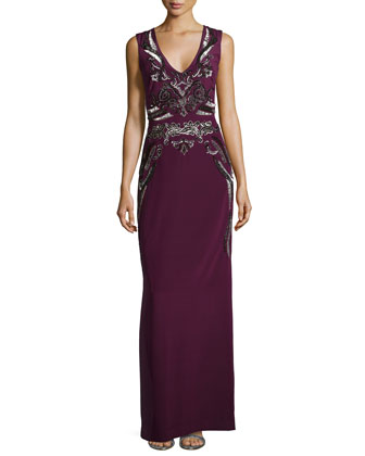 Beaded & Sequin Embroidered Gown, Plum Wine