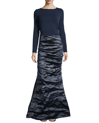 Ivy Techno Metal Combo Gown, Navy