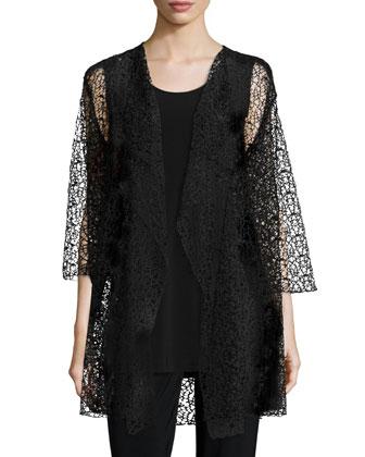 3/4-Sleeve Crochet Lace Jacket, Knit Tunic/Tank & Stretch-Knit Slim Pants, ...