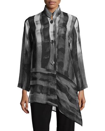 Shadow-Stripe Angled Blouse, Stretch Knit Long Tank & Stretch-Knit ...