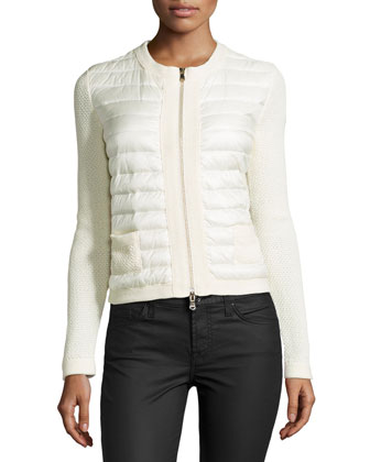 Zip-Front Puffer Cardigan, White