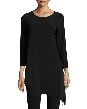 3/4-Sleeve Angled Long Tunic