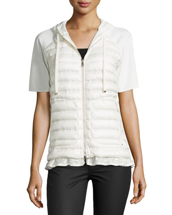 Short-Sleeve Puffer Cardigan, White