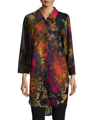 Painterly-Print Knit Button-Front Shirt