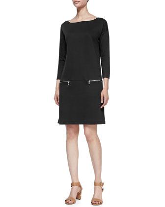 Knit Zip-Pocket Shift Dress, Plus Size